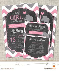 Elephant Baby Shower Ideas   Girl, Pink, Gray, Chevron   Elephant Printable Baby Shower Invitation Set   Invitation, Thank You Card, Diaper Raffle and Bring a Book   SquaredHeartDIY