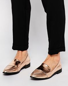 10a7d803d7fd8 New Look - Leavy Rose - Chaussures plates métallisées pointure large -  Métallisé doré