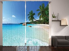 Living Room Curtains Ocean Decor by Ambesonne Anse Lazio Beach at Praslin Island and Surf Beach Window Treatments Living Room Bedroom Curtain 2 Panels Set 108 X 84 Inches Ivory Blue Green Turquoise -- You can find more details by visiting the image link. (Note:Amazon affiliate link)