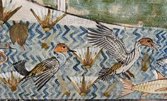 "[EGYPT 29321]<br /> 'Ducks in Menna's tomb at Luxor.'<br /> <br /> 	A pool with ducks and lotus flowers is part of a papyrus swamp hunting scene in the tomb of Menna. Menna was an 18th dynasty inspector of estates and overseer of harvests. His tomb (TT 69) can be found in the Sheikh Abd el Qurnah Necropolis on the Westbank at Luxor. It is one of the socalled ""Tombs of the Nobles"" and dates to the end of the reign of Thutmosis IV and the beginning of the reign of Amenhotep III. Photo Mick…"