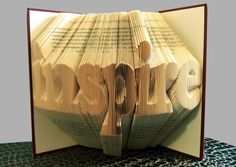 Folded Book Art - Inspire - FREE SHIPPING - Personalized Gift - Home Decor - Graduation Gift - Book Lovers Gift - Inspire Folded Book