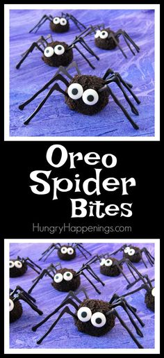 Combine Oreo Cookies with cream cheese to make these decadently sweet Oreo Spider Bites for your Halloween party. They are a bit creepy but totally cute. Halloween Oreos, Halloween Sweets, Halloween Food For Party, Creepy Halloween, Halloween Birthday, Halloween Stuff, Halloween Goodies, Halloween Recipe, Halloween Cupcakes