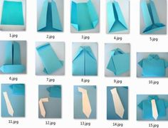 Origami Step by Step: košeľa s kravatou Paper Crafts Origami, Diy Paper, Diy And Crafts, Crafts For Kids, Fathers Day Crafts, Diy Gifts, Cardmaking, Projects To Try, Creative