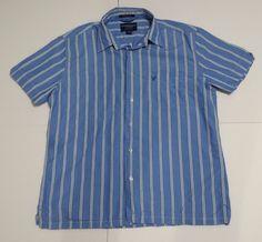AMERICAN EAGLE  MenS Shirt Larg Blue  Button Down Shirt Short Sleeve Vintage Fit #AmericanEagle #ButtonDownShirt #Casual