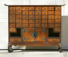 Antique 44 Drawer Chinese Apothecary Cabinet with Lock Caligraphy Paper Lined | eBay
