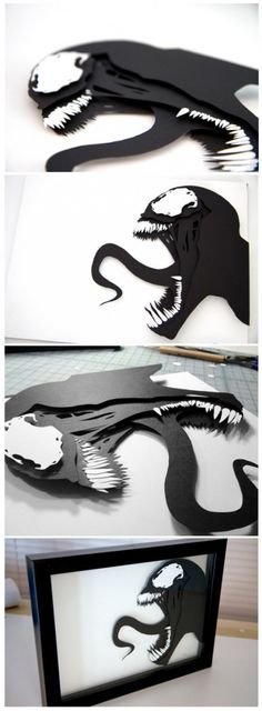 """Venom"" (Dan Luvisi) - Marvel Comics - hand cut paper craft by Pigg - Visit to grab an amazing super hero shirt now on sale! Kirigami, Paper Cutting, Cut Paper, 3d Hand, 3d Laser, Cool Laser, 3d Paper Crafts, 3d Drawings, 3d Prints"