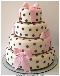 Little girls birthday cake. Love the black polkadots.