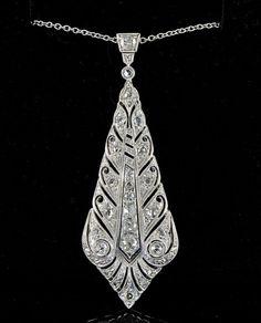ART DECO 1.30 CT OLD CUT DIAMOND LONG LOZENGE PENDANT & CHAIN! | eBay