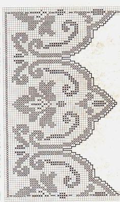 beautiful motif for curtains Crochet Lace Edging, Crochet Motifs, Crochet Borders, Crochet Cross, Thread Crochet, Crochet Doilies, Crochet Stitches, Crochet Patterns, Filet Crochet Charts