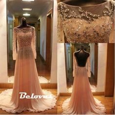 Prom Dress, Long Dress, Sheer Dress, Prom Dress 2017, Open Back Dress, Dress With Sleeves, Prom Dress With Sleeves, Long Prom Dress, Long Dress With Sleeves, Dress Prom, Open Back Prom Dress