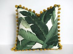 Pillow Cover Swaying Palms Pom Pom Trim Tommy Bahama by UppNorthCo