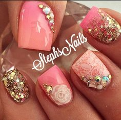 Cute nail art with 3d rose | nail art with glitter and rhinestones | ideas de unas | ongles