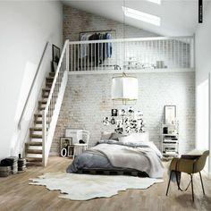 wandgestaltung schlafzimmer ziegelwand fellteppich