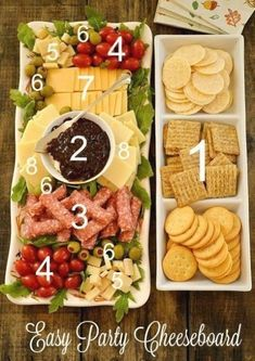 Take a look at this Easy Party Cheeseboard Idea. Party and Hosting Tips and Hacks for the Holidays - Thanksgiving, Christmas, Cookie Exchanges and Beyond on Frugal Coupon Living. Party Platters, Cheese Party Trays, Wine And Cheese Party, Food Platters, Cheese Platters, Wine Cheese, Cheese Food, Vegan Cheese, Queso Cheese