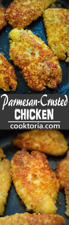 This kid-friendly, Easy Parmesan- Crusted Chicken is crunchy on the outside and succulent on the inside. It is a flavorful and elegant dish that everyone will enjoy!COM (Breaded Chicken Wraps) Breaded Chicken Recipes, Parmesan Crusted Chicken, Best Chicken Recipes, Turkey Recipes, Baked Chicken, Dinner Recipes, Ark Recipes, Hamburger Recipes, Chicken Wraps