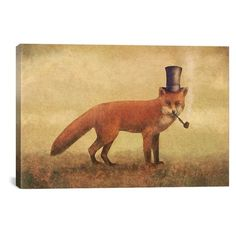 Icanvas 'Crazy Like A Fox' Giclee Print Canvas Art ($147) ❤ liked on Polyvore featuring home, home decor, wall art, beige, textured painting, fox painting, fox wall art, ink painting and giclee wall art