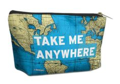 Airportag not all that wander are lost world map quote cosmetic bag airportag take me anywhere travel world map quote cosmetic bag pouch gumiabroncs Image collections