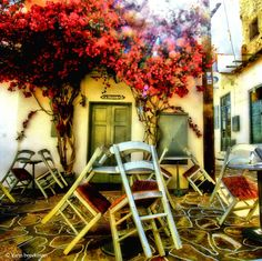 Chairs and boungevillae Greek Islands, Personal Photo, Greece, Chairs, Decor, Greek Isles, Greece Country, Decoration, Stool