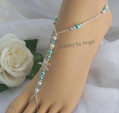 Turquoise Pearl Rhinestone Starfish Foot Jewelry by JewelryByAngel
