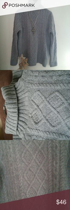 """""""Wool Lovers"""", toasty rich looking Firm Price!! It is 100% wool. A must have for any winter closet. The color is a soft gray that lights up with all most any longer necklace. Maybe in pink, red or blue!! Great for well made skirt w/tights. Or awesome with jeans! It's strange that it's my size. But I love big warm sweaters. I will have to find a new one. I guess someone will be the fortunate one to be getting this one. Delightful!!!! Size is more a L. Wool Lovers Sweaters Cowl & Turtlenecks"""
