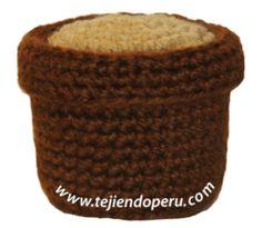 Tutorial: macetero para cactus tejido en la téncica del amigurumi (crochet)!!
