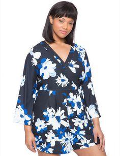 Plus Size Floral Print Wrap Romper - Eloquii