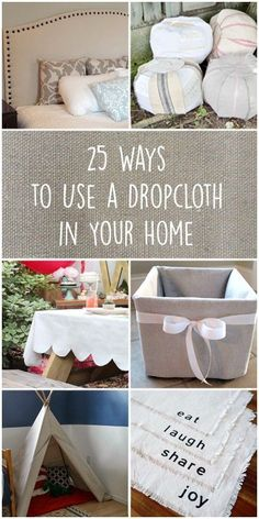 Try these 25 amazing ways to use a dropcloth in your home decor: a basic painter's cloth can be beautiful and stylish! home decor spring 25 Ways to Use a Dropcloth in Your Home Decor Diy Home Decor Projects, Handmade Home Decor, Unique Home Decor, Cheap Home Decor, Decor Crafts, Decor Ideas, Easy Crafts, Decor Diy, Home Decoration