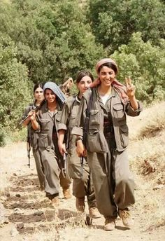 Kurdish freedom fighters. They are so strongest girls. Despite this I do not advocate war, either because it is. Why not instead fight to erradicate misery in the world? People spends more on guns than food. It is a very distorted view of reality.