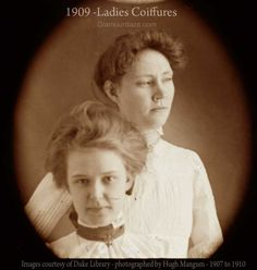Stunning photos from 1909 of ordinary women modelling the latest low pompadour coiffures....The pompadour in a modified form still holds its popularity, but it is much lower now in front than of old and very broad from side to side.  1909—Edwardian-Low-Coiffure-Hugh-Mangum-photograph – Duke Library