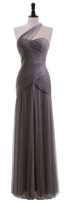 gray tulle long prom dress, gray tulle evening dress, gray bridesmaid dress