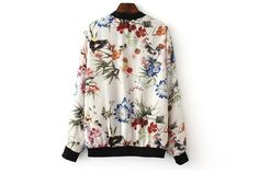 White Pockets Zippers Bomber Floral Printed Cotton Baseball Jacket