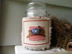 Machine Embroidered Americana Candle Cozy by humblehrtdesigns, $8.00