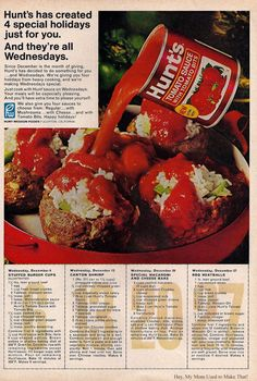 Hunts 1967  Stuffed Burger Cups ~ Canton Shrimp ~ Special Macaroni and Cheese Bake ~ BBQ Meatballs