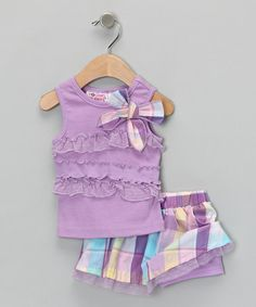 Take a look at this Pastel Purple Tank & Skirt - Infant & Girls by Young Hearts on #zulily today!