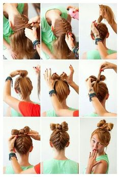 French braid into a bow bun...