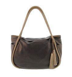 e21ad0e5b Maxi bolso piel lisa combinado con 2 borlas - Paula Alonso   Tienda online  Piel De