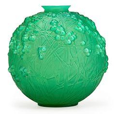 """Lalique """"Druide"""" vase, cased green glass, France, des. 1924"""