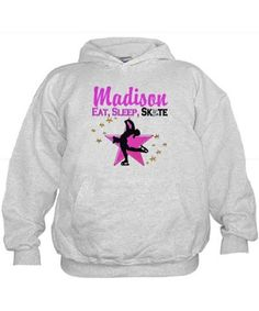 CUSTOM SKATER Hoodie Inspire your lovely Skater with our personalized Figure Skating Tees, Apparel, and Gifts. http://www.cafepress.com/sportsstar/10189550 #Figureskating #Skatergirl #Borntoskate #Lovetoskate #Icequeen