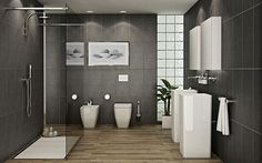 modern bath with grey stone and natural wooden floors