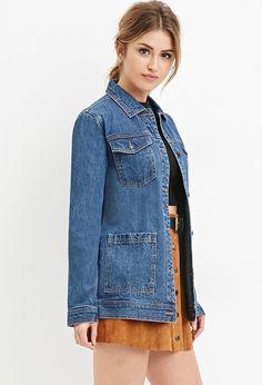 Longline Denim Jacket - Coats + Jackets - Denim Jackets - 2000163225 - Forever 21 UK