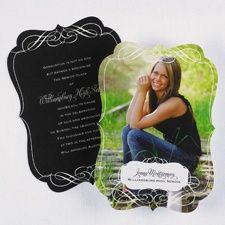 Fanciful Frame Announcement from Carlson Craft - Item Number: - A fancy frame borders this two-sided photo announcement. College Graduation Announcements, Graduation Photos, Graduation Cards, 8th Grade Graduation, High School Graduation, Graduation 2016, Graduation Ideas, Graduation Celebration, Graduation Party Invitations