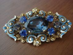 Old Czech Blue Glass Rhinestone Brooch Enamel Brass Filigree Blue Glass 1920 30' | eBay