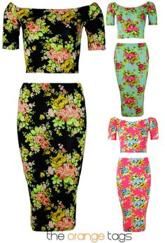 WOMENS 2 PIECE SET FLORAL PRINT LADIES MIDI BODYCON DRESS SKIRT CROP TOP OUTFIT in Clothes, Shoes & Accessories, Women's Clothing, Dresses | eBay
