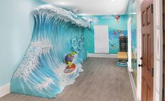 Imagination Design Studios has close to a decade of experience creating themed environments just for dentists and is an award-winning design and manufacturing studio. Mall Design, Clinic Design, Curved Reception Desk, Bright Office, Beach Office, Beach Cove, Toddler Playroom, Dental Office Design, One Bed