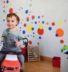 Create-A-Mural Rainbow Polka Dot Wall Decals for Kids Room Dots) Polka Dot Room, Polka Dot Walls, Polka Dot Wall Decals, Kids Wall Decals, Wall Stickers, Polka Dots, Cool Kids Rooms, Wall Decor Online, Vinyl Sheets