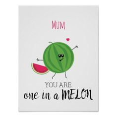 Mothers Day One in a Million Cute Fun Foodie Pun Poster