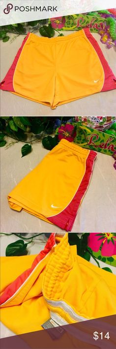 ⚡️⚡️NIKE Fit Dry Athletic Running Shorts MED 8-10 Super Cute Nike Running Shorts In A Bright Orange And Hot Pink!!! Fit Dry So Perfect For Any Sport To Stay Cool 😎 Size Medium (8-10) Nike Shorts