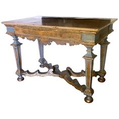 For Sale on - Elegant Italian century light blue painted and parcel-gilt console tables with a marble top. Provenience from a Tuscany aristocratic estate. Large Console Table, Rustic Console Tables, Rustic Furniture, Table Furniture, Painted Furniture, Antique Furniture, Rustic Elegance Decor, Consoles, Blue Nails