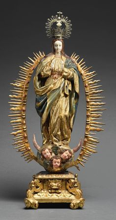 Buy online, view images and see past prices for HISPANO-PHILIPPINE AND SPANISH, 17TH CENTURY | Virgin of the Immaculate Conception. Invaluable is the world's largest marketplace for art, antiques, and collectibles. Blessed Mother Mary, Blessed Virgin Mary, Religious Icons, Religious Art, Immaculée Conception, Mama Mary, Sacred Architecture, Black And White Painting, Madonna And Child