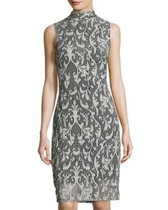 Lace+Damask-Print+Sheath+Dress,+Gray+by+Neiman+Marcus+at+Neiman+Marcus+Last+Call.